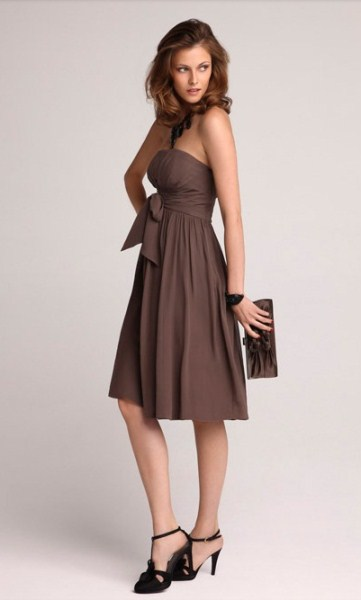Robe bustier dentelle taupe