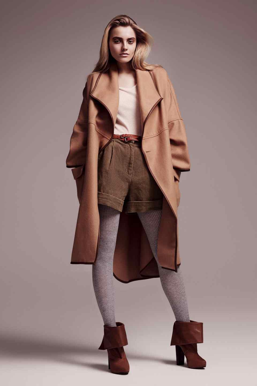 Manteau femme marron beige