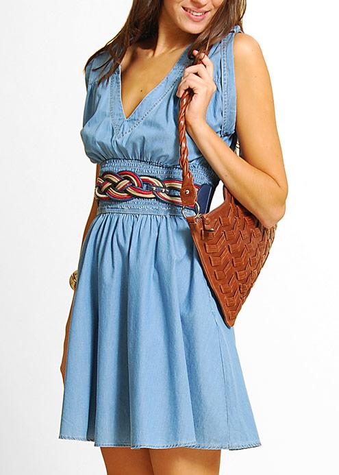 Robe la mode robe bleu ciel a pois blanc for Robes de mariage bleu ciel